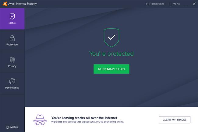 Giao diện phần mềm Avast
