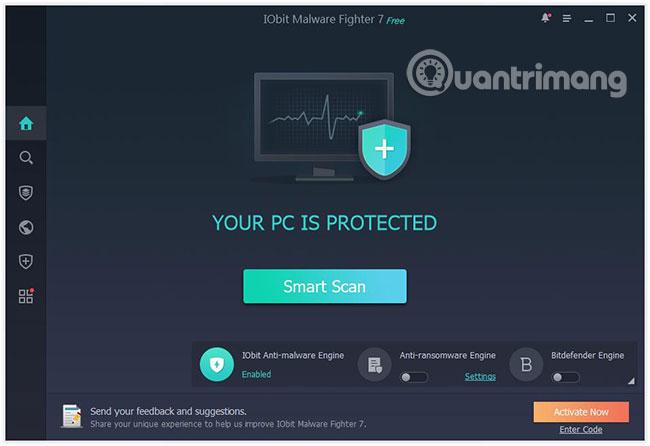 IObit Malware Fighter 7 hoạt động như một nhân viên bảo an cho toàn bộ hệ thống