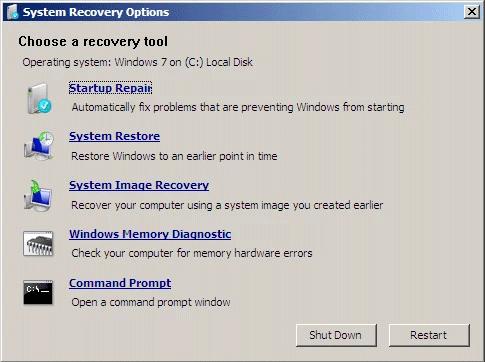 Sử dụng Startup Repair trên Windows 7
