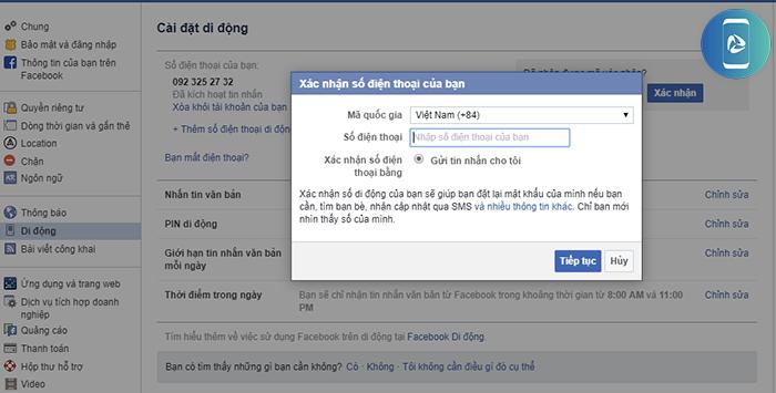 Cách đổi số điện thoại xác nhận Facebook