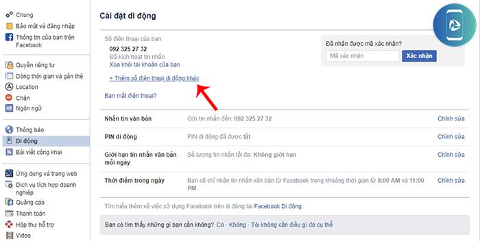 Cách đổi số điện thoại của Facebook
